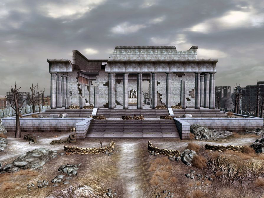 The Lincoln Memorial is featured in Fallout 3, 2008 (Bethesda Game Studios, Bethesda Softworks)  Image Source: http://fallout.wikia.com/wiki/Lincoln_Memorial
