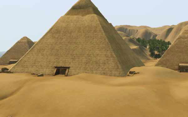 The Pyramids of Giza is featured in Sims 3 World Adventures Expansion Pack, 2009 (EA Play/The Sims Studio, EA Play) Image Source: http://www.carls-sims-3-guide.com/worldadventures/